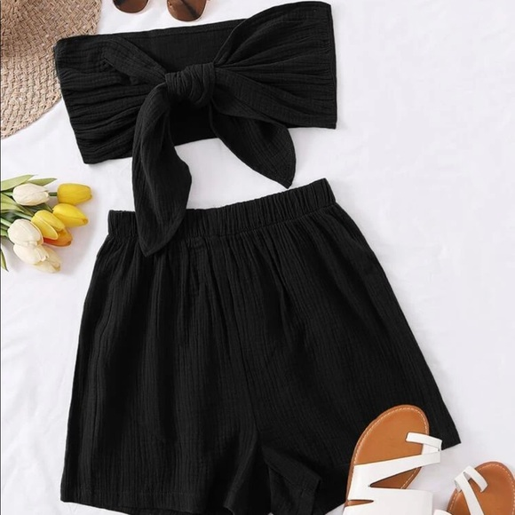 Solid Knot Tube Top and Shorts Set